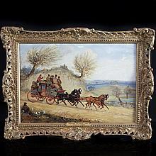 Oil on Wood Painting by Henry Alken Jr.(1810-1894)