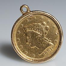 1861 2.5 Liberty Eagle Gold Coin Pendant