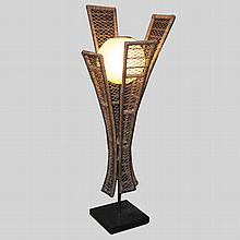 Vintage Wicker & Bakalite Floor Lamp