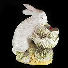 Large Italian Porcelain Rabbit Planter