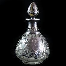Sterling Overlay Glass Perfume Bottle