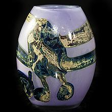 Val St. Lambert Glass Vase by Sam Herman(Mexican, b. 1939-)