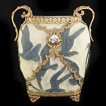 Molded Phoenix Glass & Dore Bronze Footed Vase