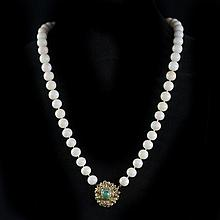 White Coral & Turqoise & Gold Necklace