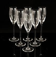 Six Saint Louis Crystal Flutes