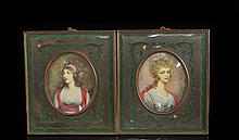 Set Of Two Antique Portrait Plaques On Ivory