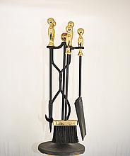 Vintage Five Piece Iron Fireplace Tool Set