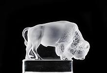 Lalique Crystal Bison Paperweight
