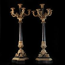 Bronze & Marble Candleabras