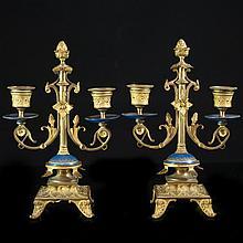 Pair of Dore Bronze Sevres Candelabras