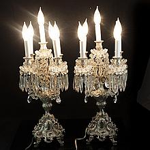 Pair of Silver Plated Bronze Electric Candelabras