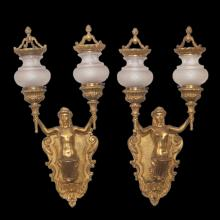Pair of Figural Bronze Wall Sconces