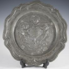 Antique Pewter Plate w/ Angels.