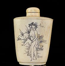 Chinese Erotic Ivory Snuff Bottle