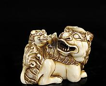 Hand Carved Ivory Foo Dog Figurine