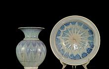 Set Of Ceramic Glazed Bowl & Vase signed