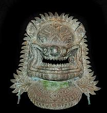 Antique Bronze Foo Dog Bust Sculpture
