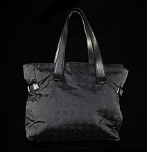 Authentic Chanel Large Black Jacquard Tote