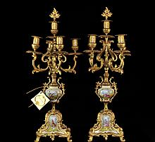 Pair Of Bronze & Porcelain Candelabras
