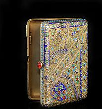 Antique Russian Silver Enamel Cigarette Case