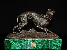 Russian Bronze Dog On Malachite