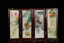 Antique Chinese Miniature Four Panel Screen