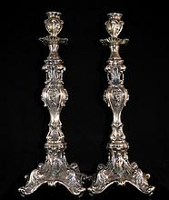 Large Antique Baroque Silver Candle sticks