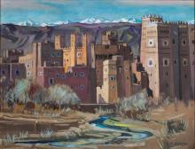 Orientalist School, Marcel Busson (French, 1913 - 2015), El Kelaa des M'Gouna, 1955, signed 'M. Busson' (lower right), titled and dated 'El Kelaa des M'Gouna, 1955'  (on the reverse), 50 x 65 cm