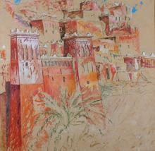 Orientalist School, Patrice Laurioz (1959), Le Grand Ksar, gouache and wax-crayon on panel,  signed 'Laurioz' (lower left), 108 x 105.5 cm