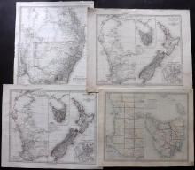 Australia, incl New Zealand C1830-73 Group of 4 Maps by the SDUK & Stieler