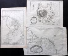 French Guyana C1750-C1780 Group of 3 Maps by Bonne & Bellin