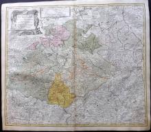 Homann, Johann Baptist C1730 Hand Coloured Map of Saxon Germany & Bohemia, Czech Republic