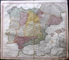 Homann, Johann Baptist C1730 Hand Coloured Map of Spain and Portugal