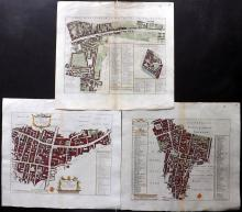 London - Stow, John 1720 Group of 3 Hand Coloured Maps