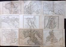 Delamarche, Felix 1832 Mixed Lot of 9 Maps from Atlas de la Geographie