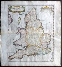 Morden, Robert 1695 Hand Coloured Map of Saxon Britain
