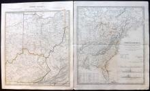 SDUK (Pub) 1833-C1840 Pair of Maps. USA & Canada. Ohio, Kentucky, Virginia, East Coast