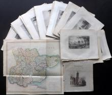 Bartlett, William - Essex 1830's Lot of 36 Steel Engravings plus Hand Coloured Map