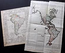 Americas C1806-1841 Pair of Rare Contintent Maps by Von Reilly & Karl Vogel