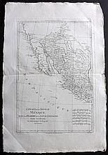 Bonne, Rigobert 1787 Copper Engraved Map of Texas, California, USA Mexico