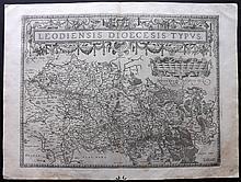 Ortelius, Abraham 1578 Map of Leige, Belgium