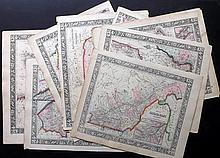 Mitchell, Samuel Augustus 1864 Lot of 10 Hand Coloured US & Canada Maps