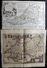 Jansson, Jan C1646 Hand Coloured Map of Pembrokeshire, Wales and another Welsh Map by Kitchin