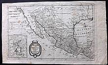 Campe, Joachim Heinrich & Kitchin, Thomas 1793 Rare Copper Engraved Map of California, Texas and Mexico