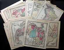 Colton, Joseph Hutchins & Johnson, Alvin Jewett C1856-C1875 Lot of 38 Country Maps
