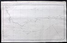 South Africa, Cape of Good Hope 19th Century Manuscript Map of the South Coast of Africa