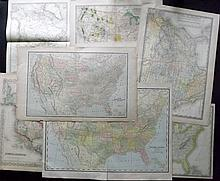 USA & North America C1860-1915 Lot of 8 Country & Continent Maps