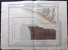 Vandermaelen, Philippe 1827 Hand Coloured Map of Mexico & View of Chimborazo Volcano, Ecuador
