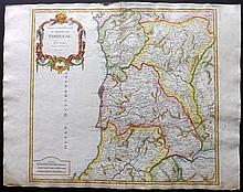 Vaugondy, Robert 1751 Hand Coloured Map of Portugal