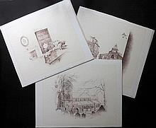 3 Ballpoint drawings, signed CHARLES. Bronte family interest. 20th Century.